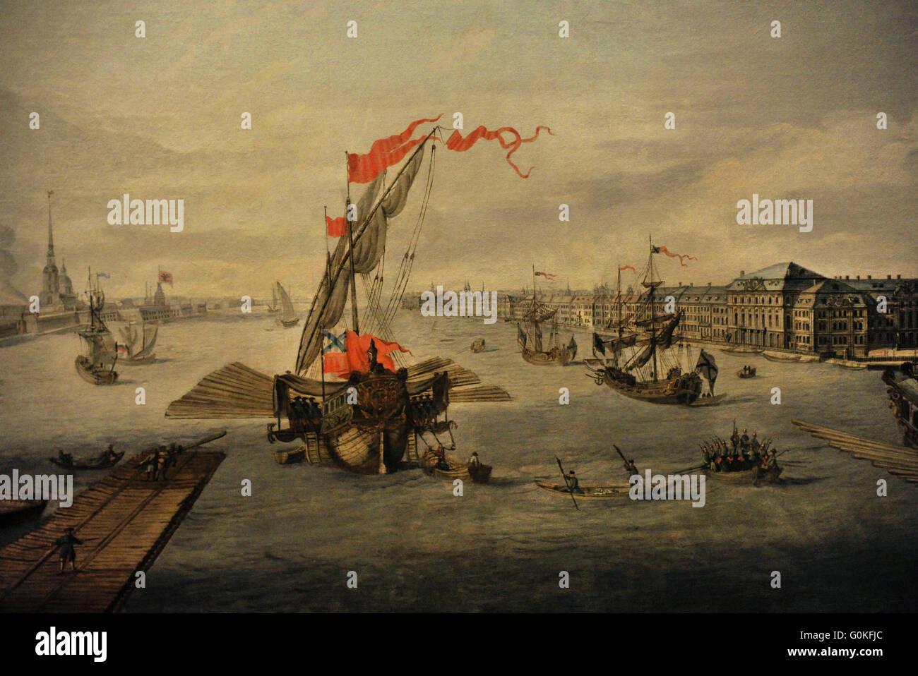 Unbekannter Künstler. Nach der Zeichnung von Mikhail Makhaev (1718-1770).  Blick auf die Newa zwischen dem Stockbild
