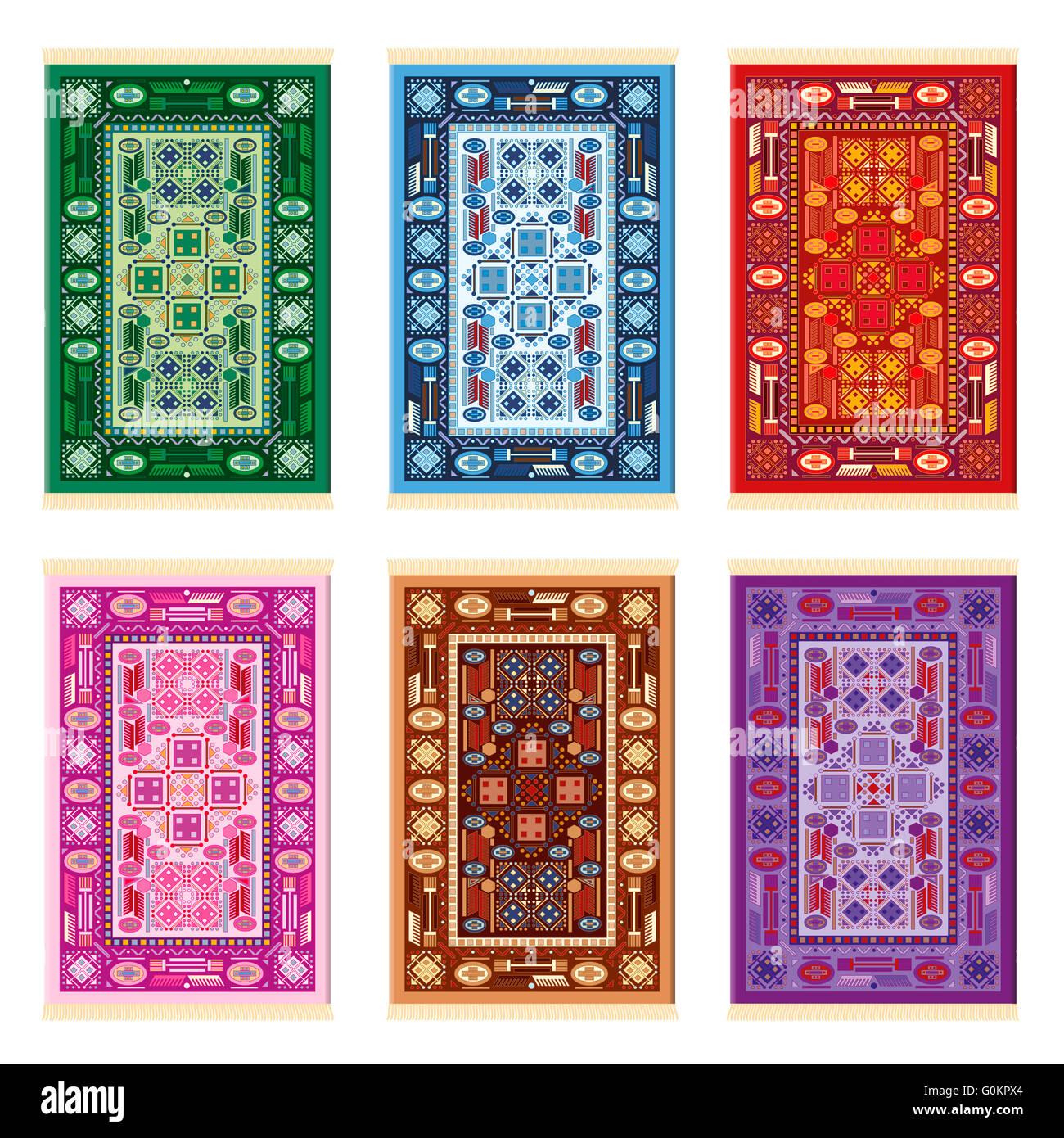 Teppiche Orientalische Muster Sechs Farbvarianten Grun Blau