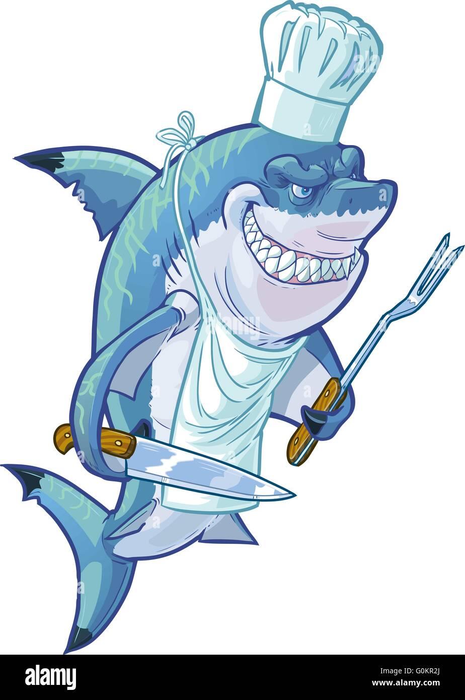 Koch bei der arbeit clipart  Vektor cartoon Clipart Illustration eines harten, smiling Shark mit ...