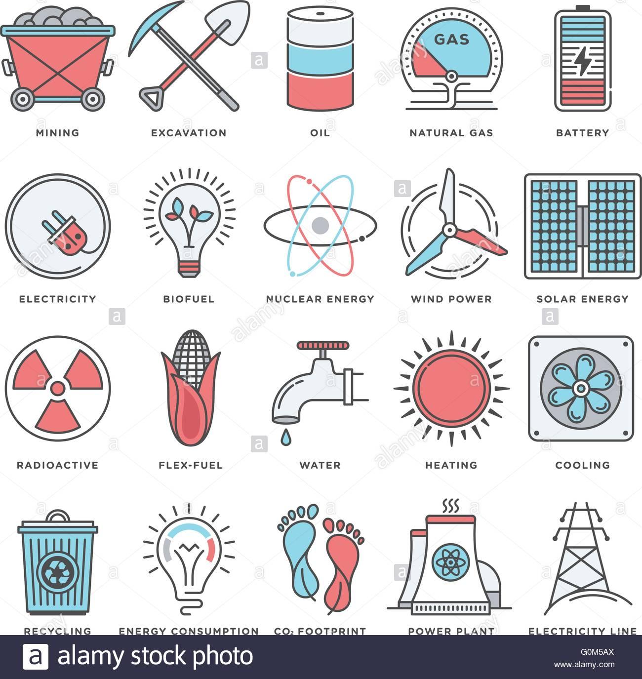 Moderne Illustrationen und Design-Elemente für Energie-Ressourcen ...