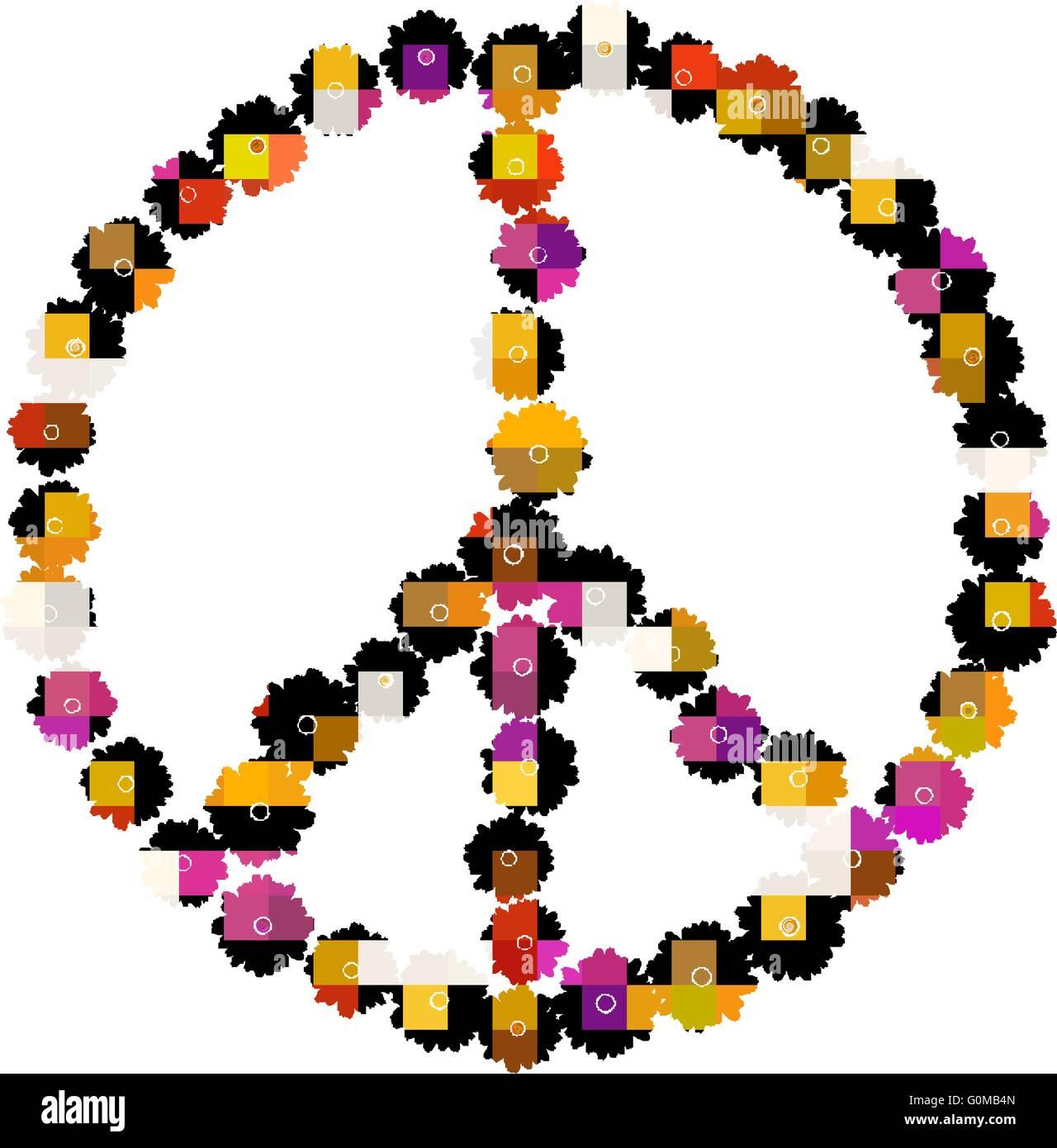 Pazifistische Zeichen bestehend aus bunten Gerbera Blumen auf weiß Stockbild