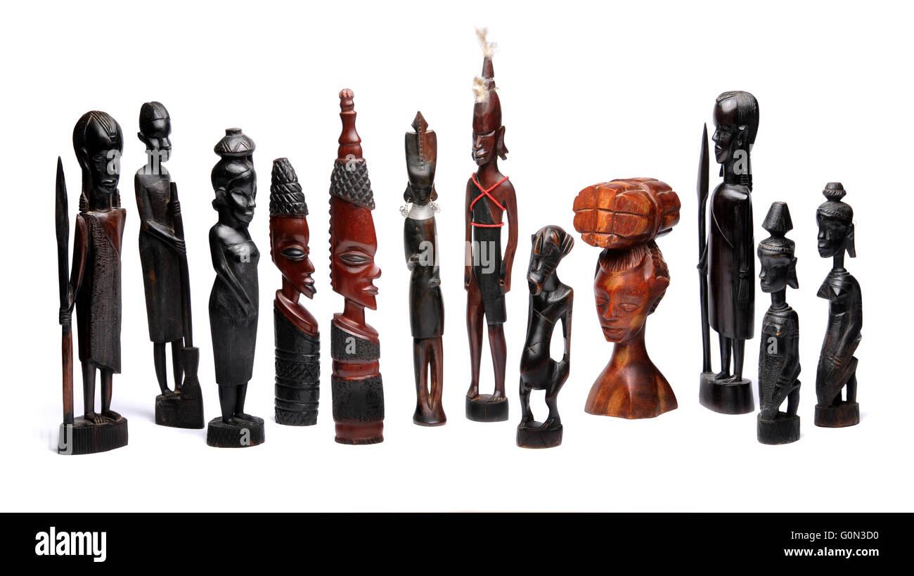 Afrikanische Holzkunst und Statuen Stockfoto