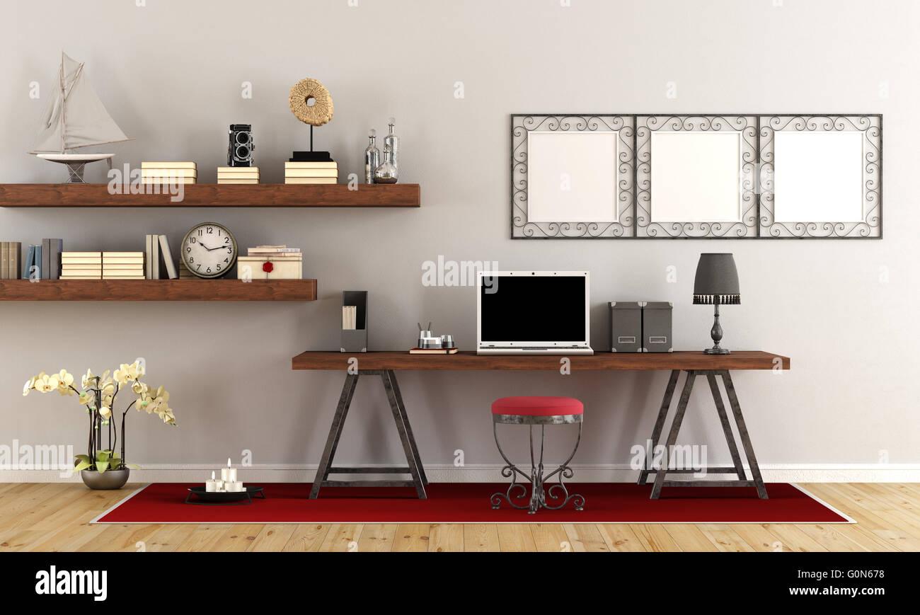 Vintage home-Office mit zeitgenössischen Laptop am Schreibtisch aus ...