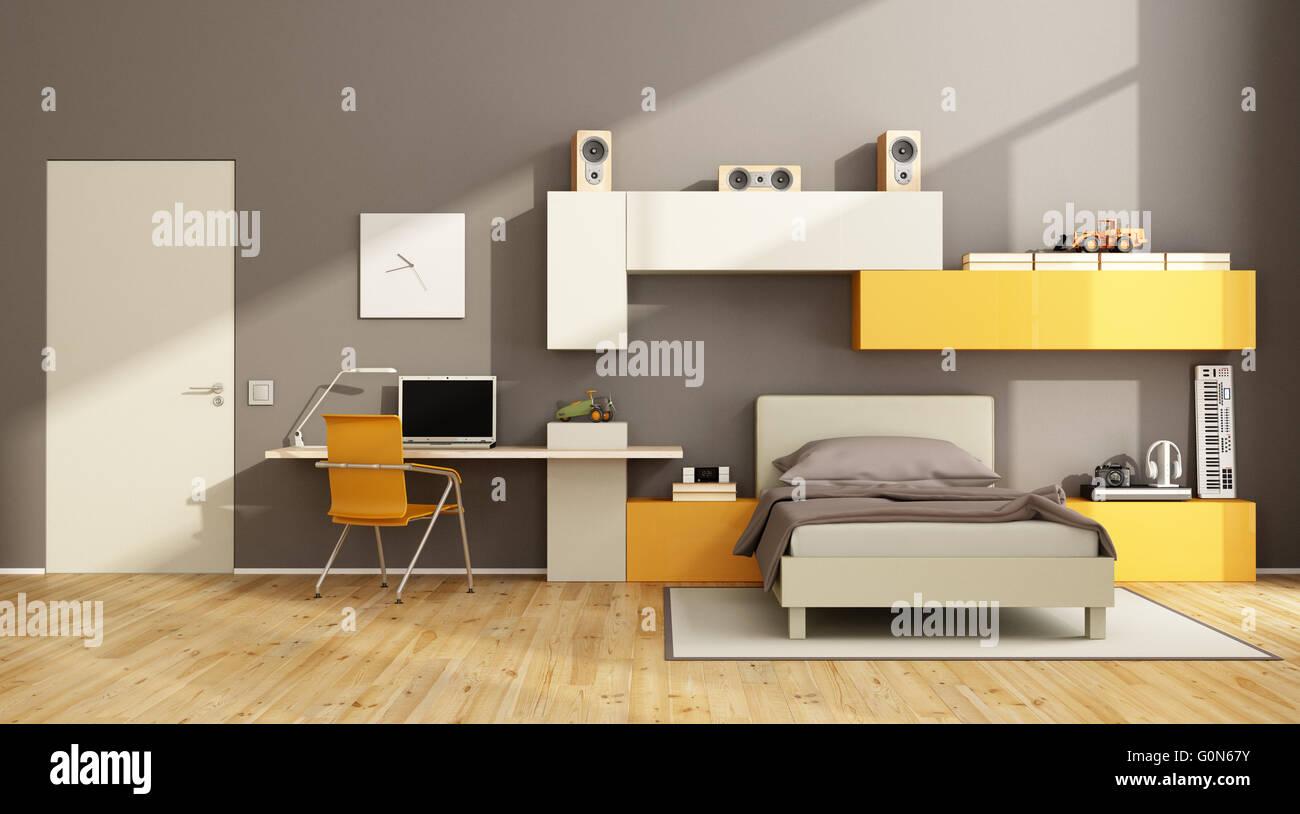 Braun Und Orange Teenager Schlafzimmer Mit Schreibtisch, Laptop Und Wand An  Wand   3d Rendering