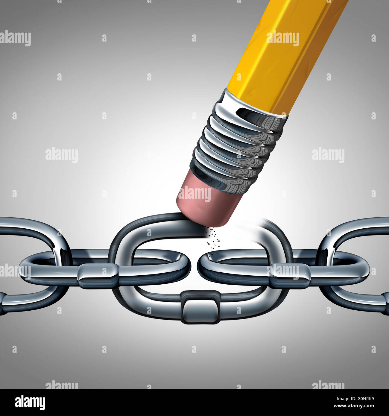 Konzept der Schwäche und gebrochene Kette als Symbol Geschäft mit ...
