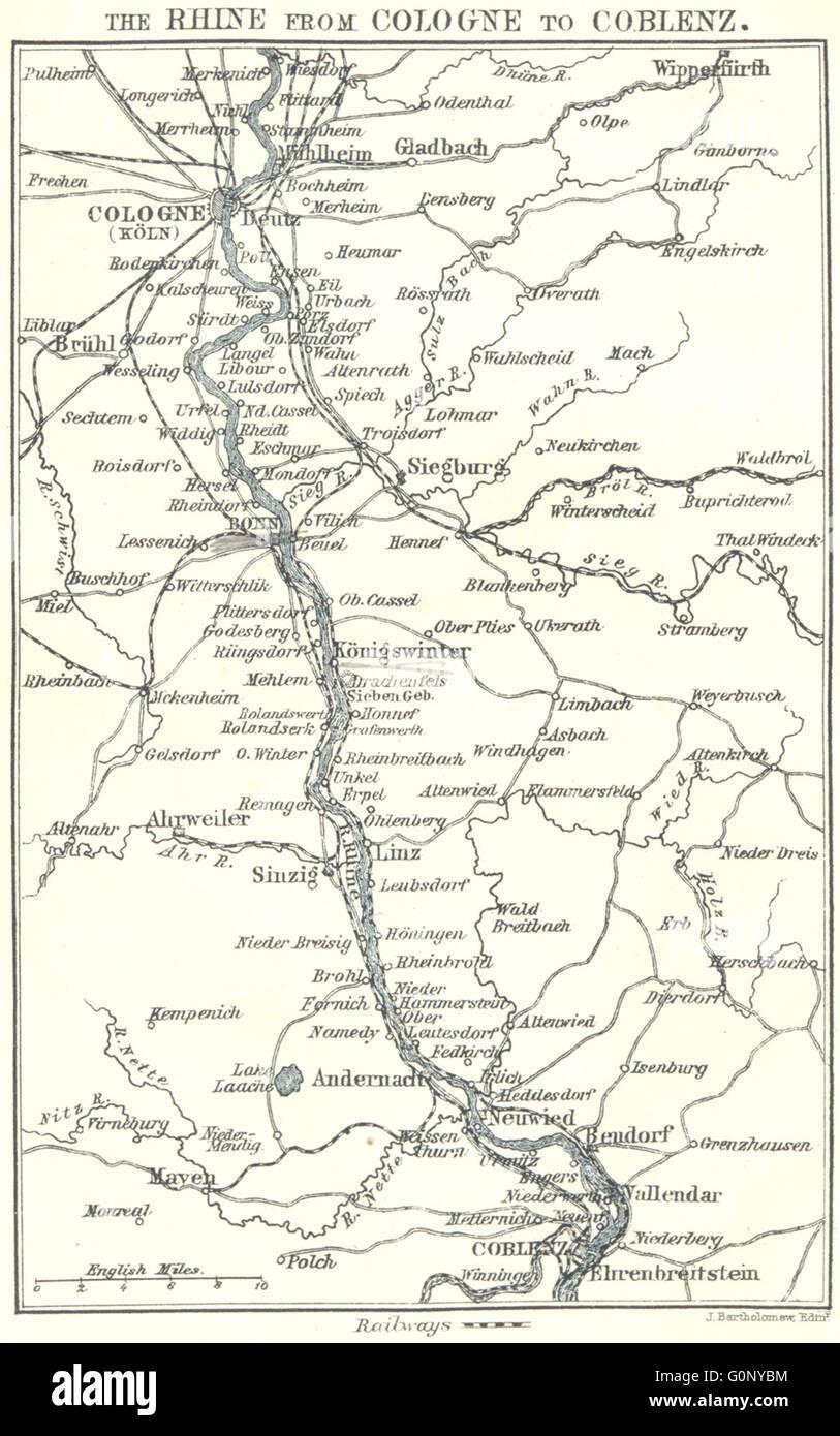 Karte Koblenz.Deutschland Rhein Von Köln Nach Koblenz 1910 Antike Karte