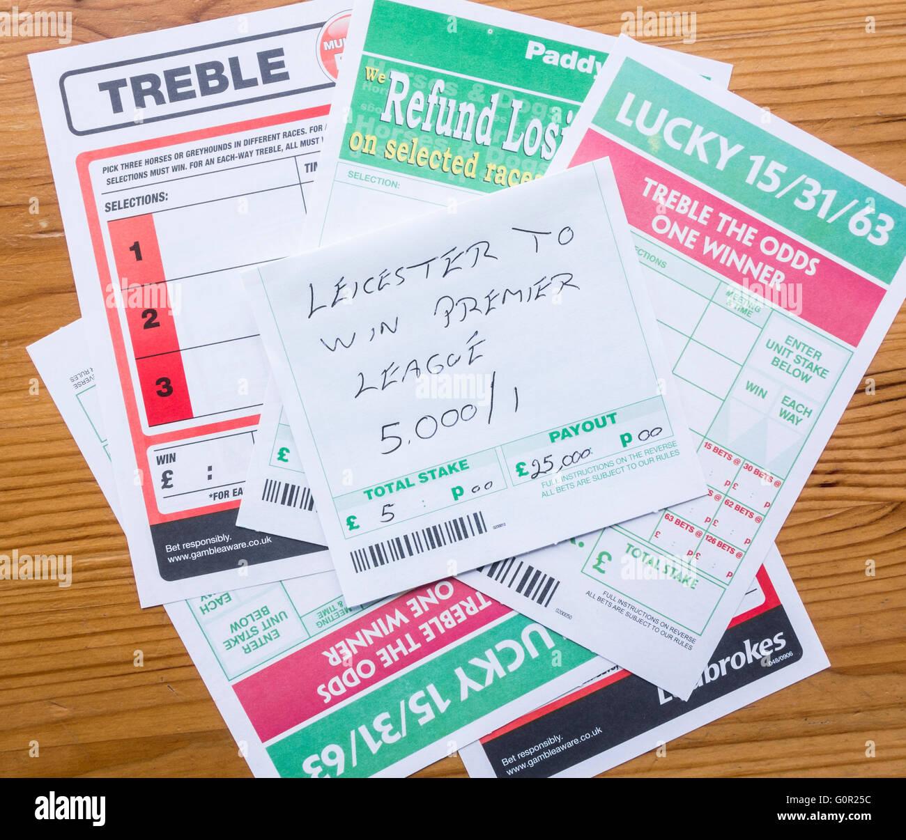 Wettschein mit Leicester Premier League auf 5,000/1 zu gewinnen. Stockbild