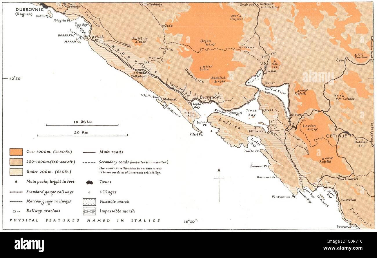 Kotor Montenegro Karte.Montenegro Kusten Kotor Region 1944 Vintage Karte