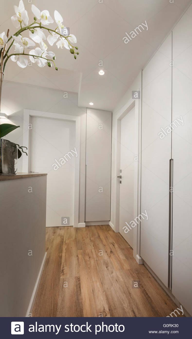 Modernes Haus. Weiße moderne Flur mit eleganten Holzfußböden ...
