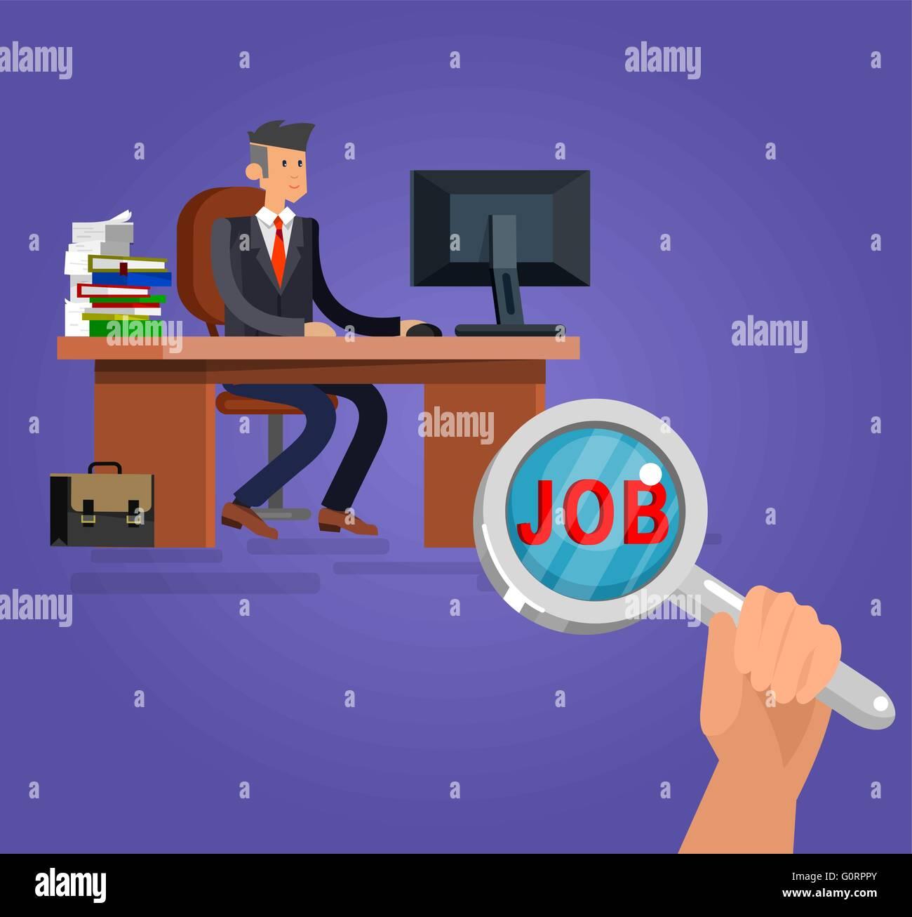 Job-Suche und Human Resources. Flache Vektor-illustration Stockbild
