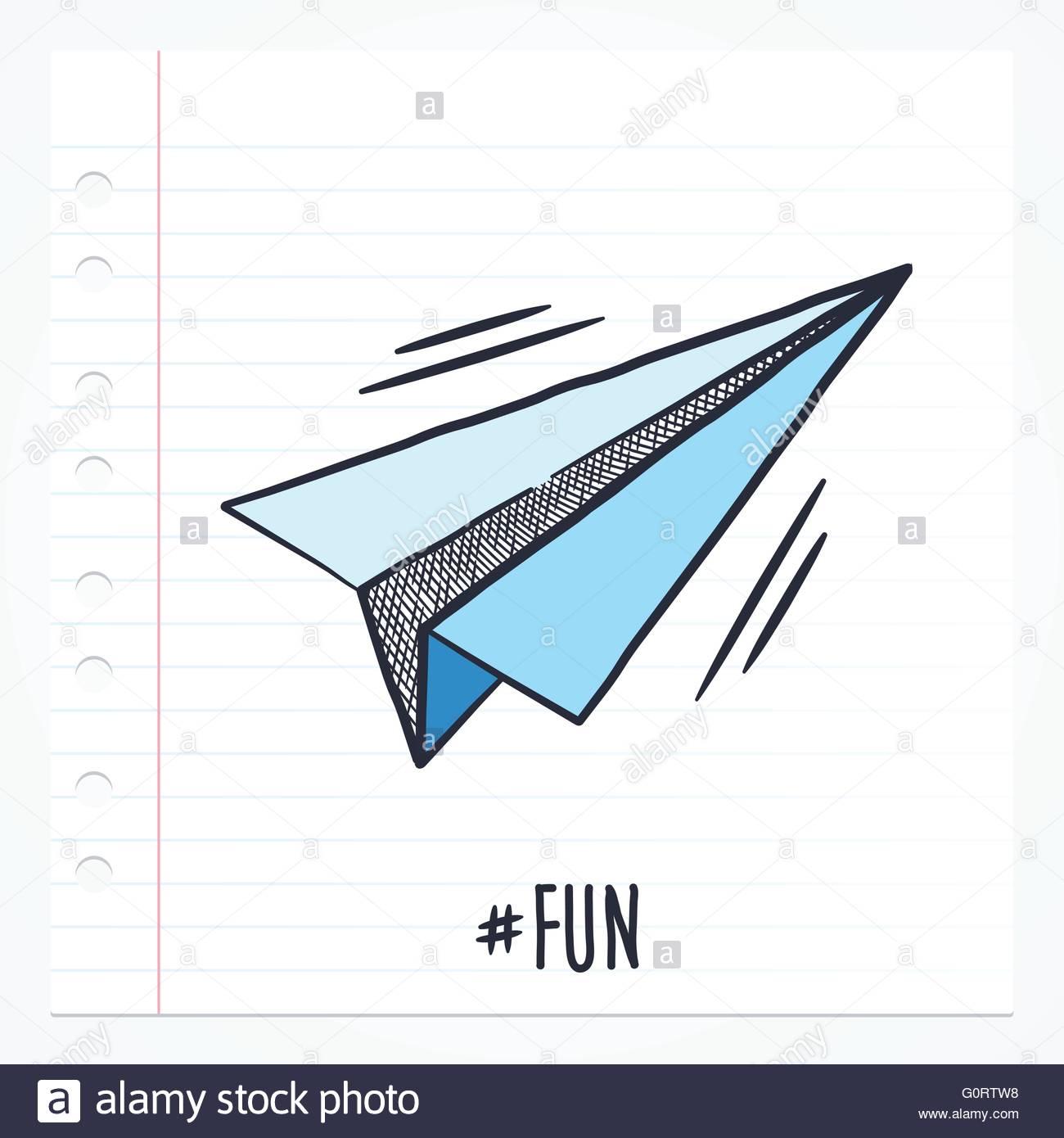 Vektor doodle Papier Flugzeug Symbol Abbildung mit Farbe auf ...