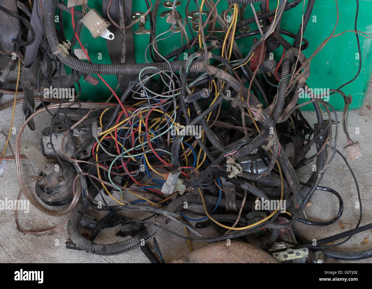 Zweiter hand set Auto elektrische Verkabelung Stockfoto, Bild ...