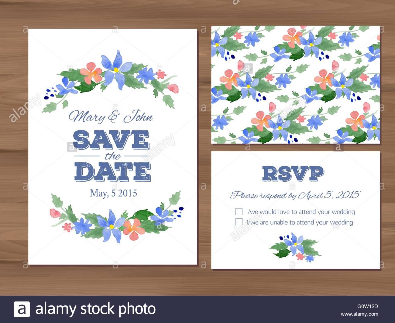 Hochzeit Mit Aquarell Blumen Und Typografischen Elementen Gesetzt