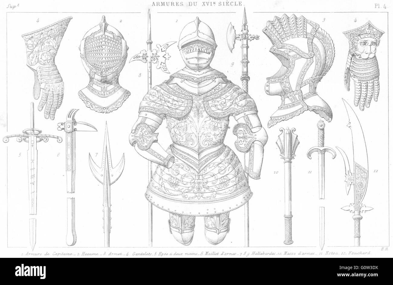 16C Anzug Rüstung: Helm; Armet; Handschuh; Schwert; Hammer; Hellebarde; Fauchard, 1875 Stockbild