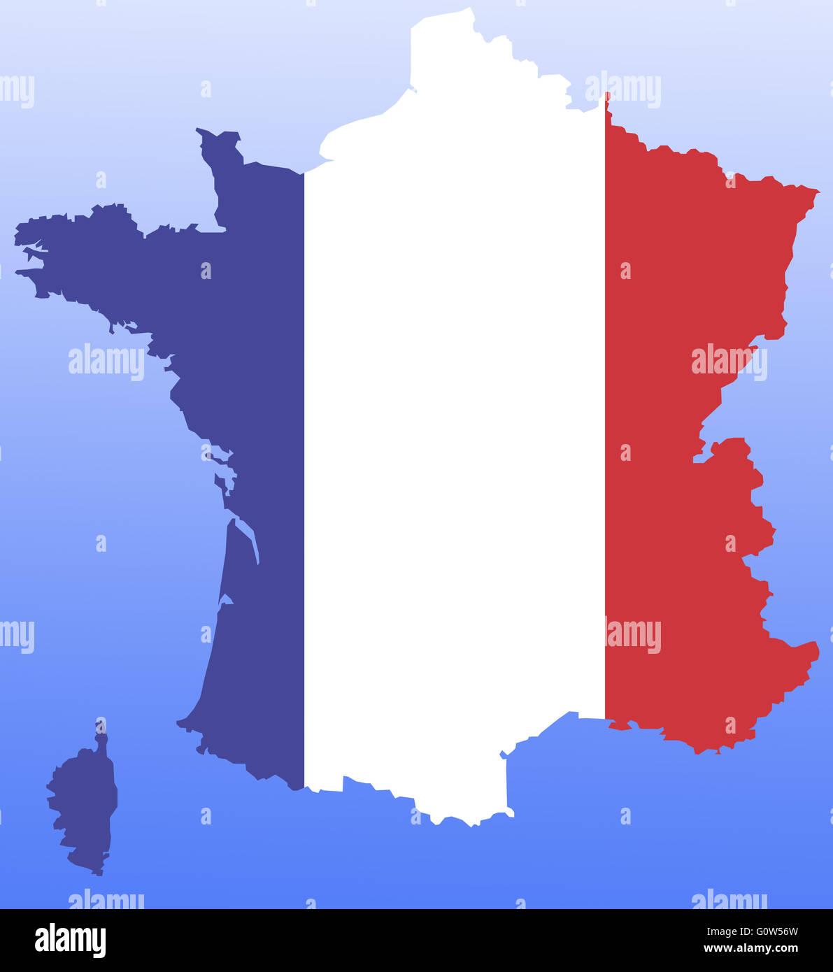 Symbolbild: Frankreich: Laenderumriss Mit Flagge / symbolischen Bild: Frankreich: Gliederung und Flagge. Stockbild