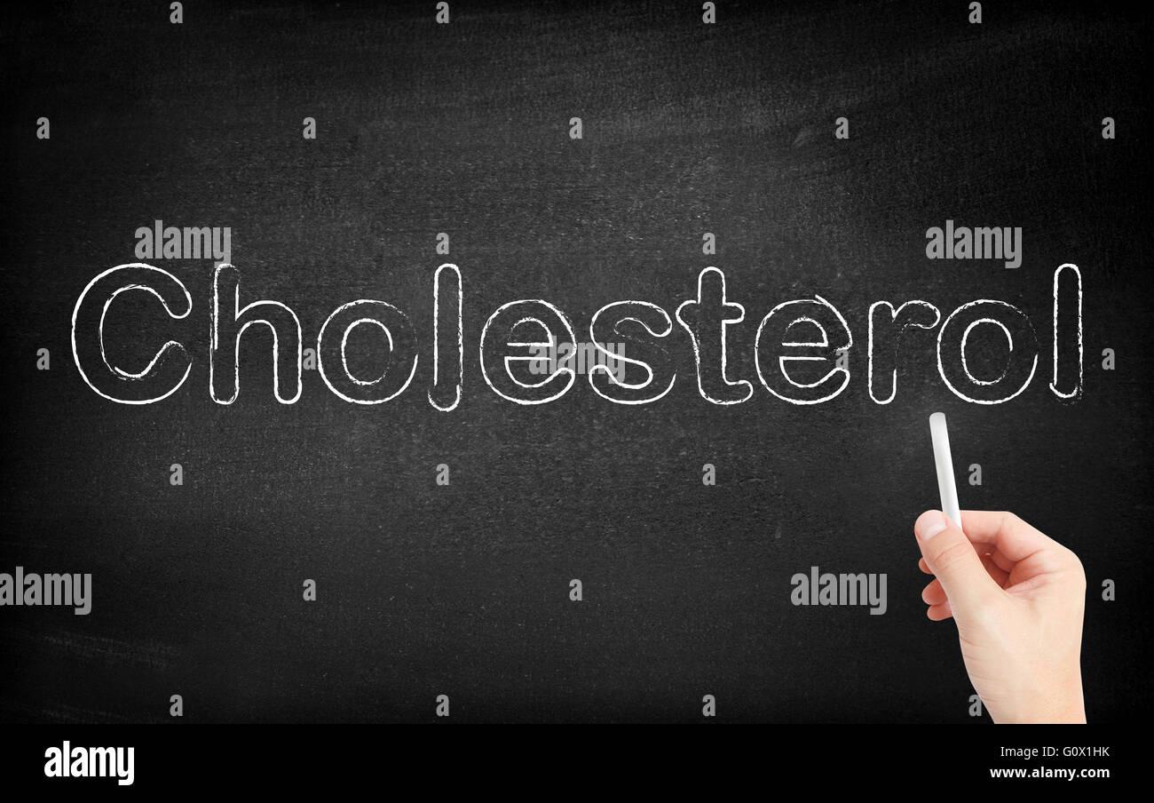 Cholesterin auf weiße Tafel geschrieben Stockbild