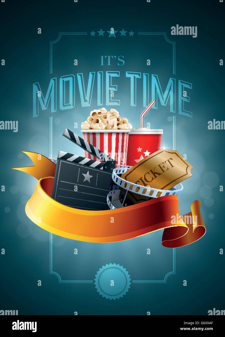 Popcorn-Box; Einweg-Becher für Getränke mit Stroh, Film Strip ...