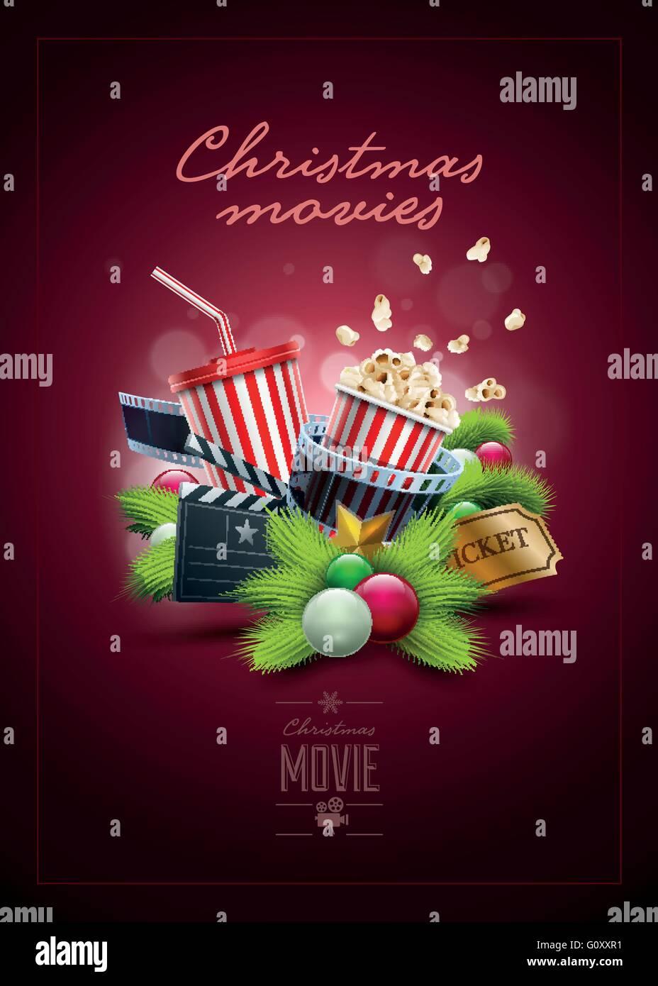Weihnachten Film-Konzept-Design-Vorlage. Elemente werden separat in ...