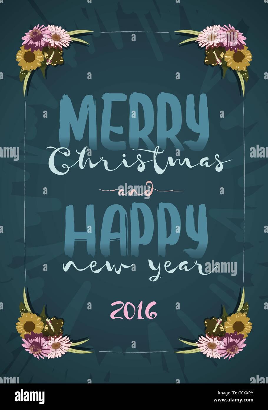 Weihnachten und frohes neues Jahr-Message-Board mit bunten Vintage ...