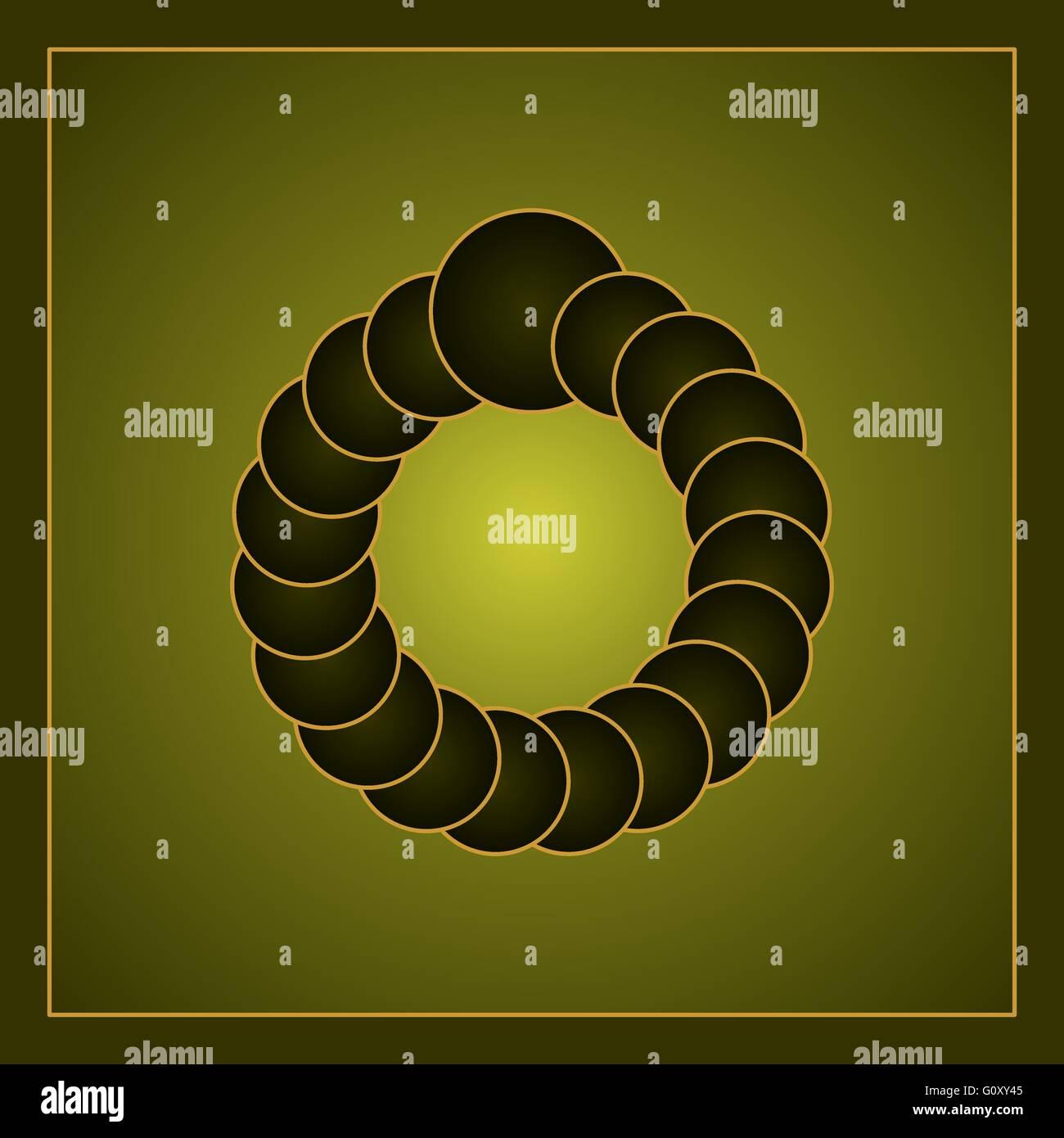 Green optische visuelle Illusion, die durch Kreise bilden einen virtuellen Ring. Farbverlauf im inneren Kreise und Stockbild