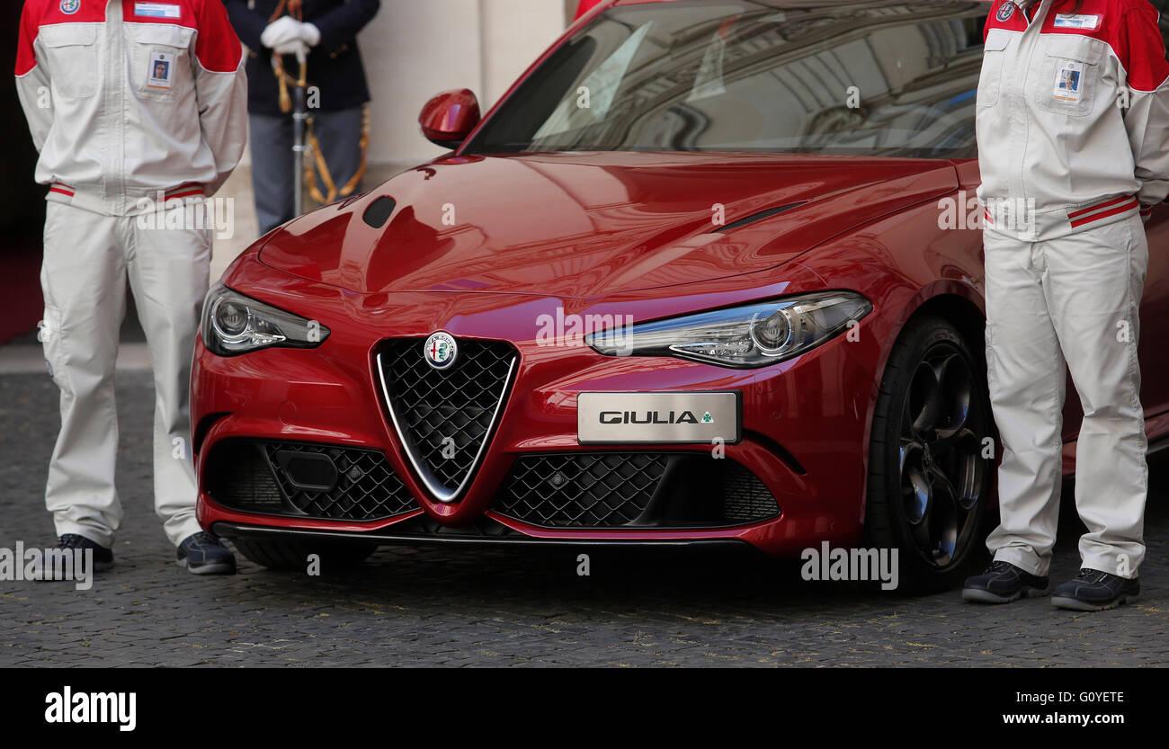 Rom, Italien. 5. Mai 2016. 5. Mai 2016 Rom. Präsentation der neuen Giulia von Alfa Romeo.  Bildnachweis: Insidefoto/Alamy Stockbild