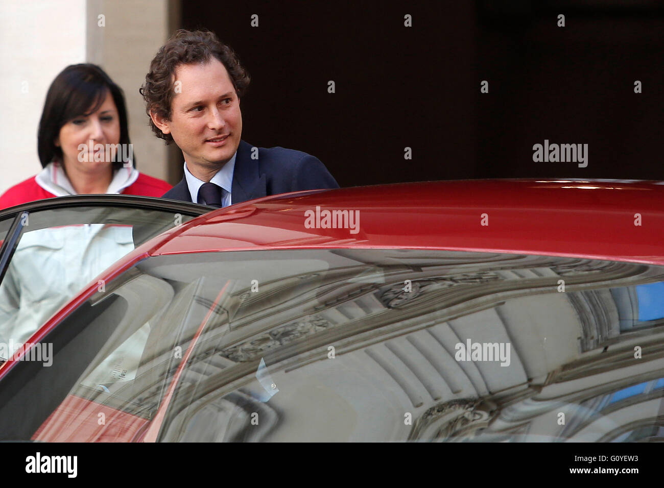 Rom, Italien. 5. Mai 2016. John Elkann, Präsident von Fiat Chrysler Automobile Rom 5. Mai 2016. Präsentation Stockbild