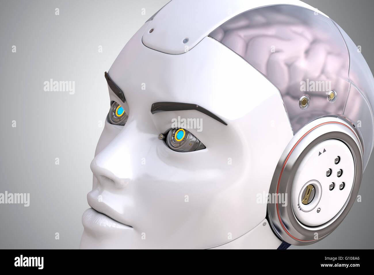 Kopf des Roboters hautnah Stockbild