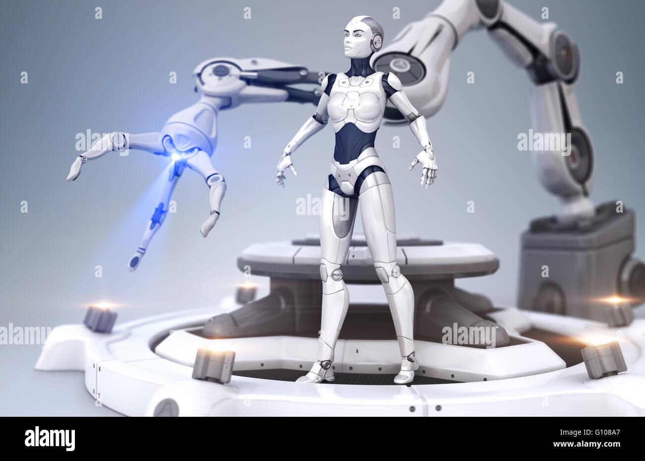 Sci-Fi-Roboter und Roboter-arm Stockbild