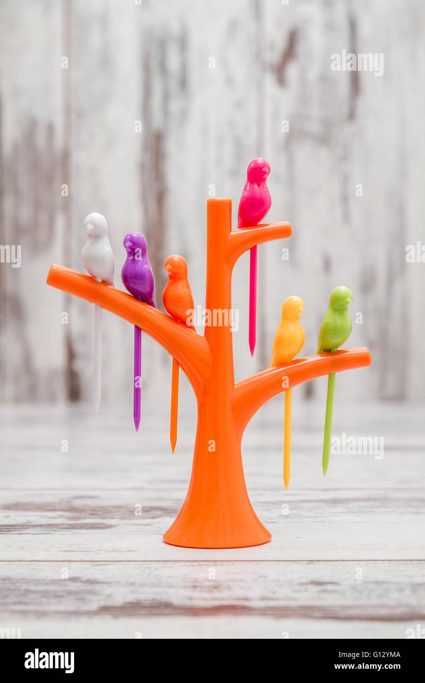 Kreative Kunststoff Küchengerät. Obst oder Dessert Vogel Zahnstocher ...