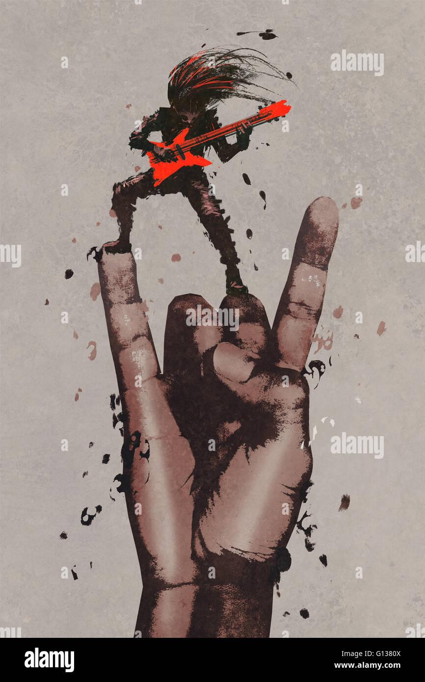 große Hand in Rock ' n roll-Zeichen mit dem Gitarristen, Illustration, Malerei Stockbild