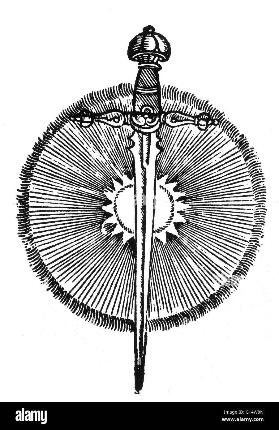 Holzschnitt von 'Comet' von Des Monstres et Prodiges von Ambroise Paré, 1573. Des Monstres ist gefüllt Stockbild