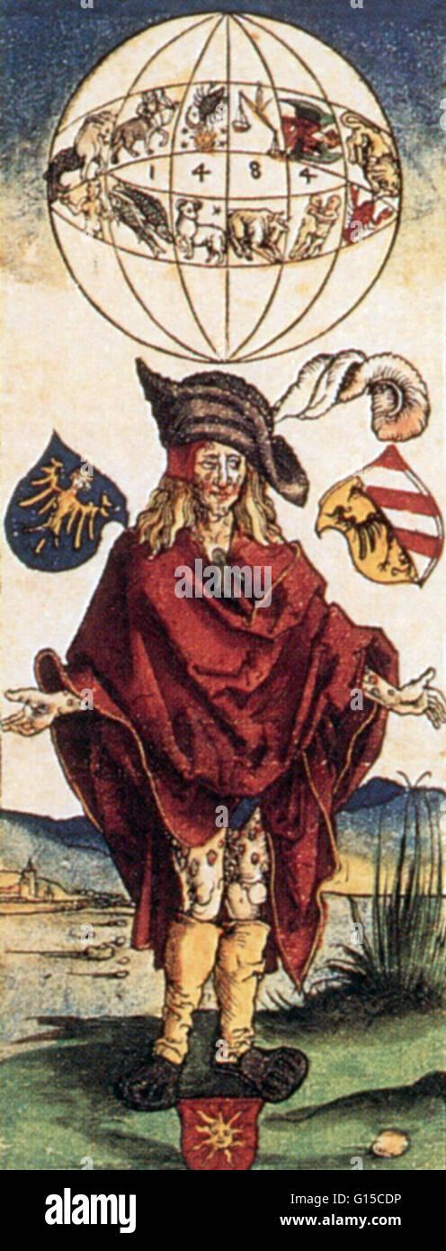 Albrecht Durers (1471-1528) Holzschnitt von einem syphilitischen Mann in Zeitraum abgedeckt. Beachten Sie die astrologischen Stockbild
