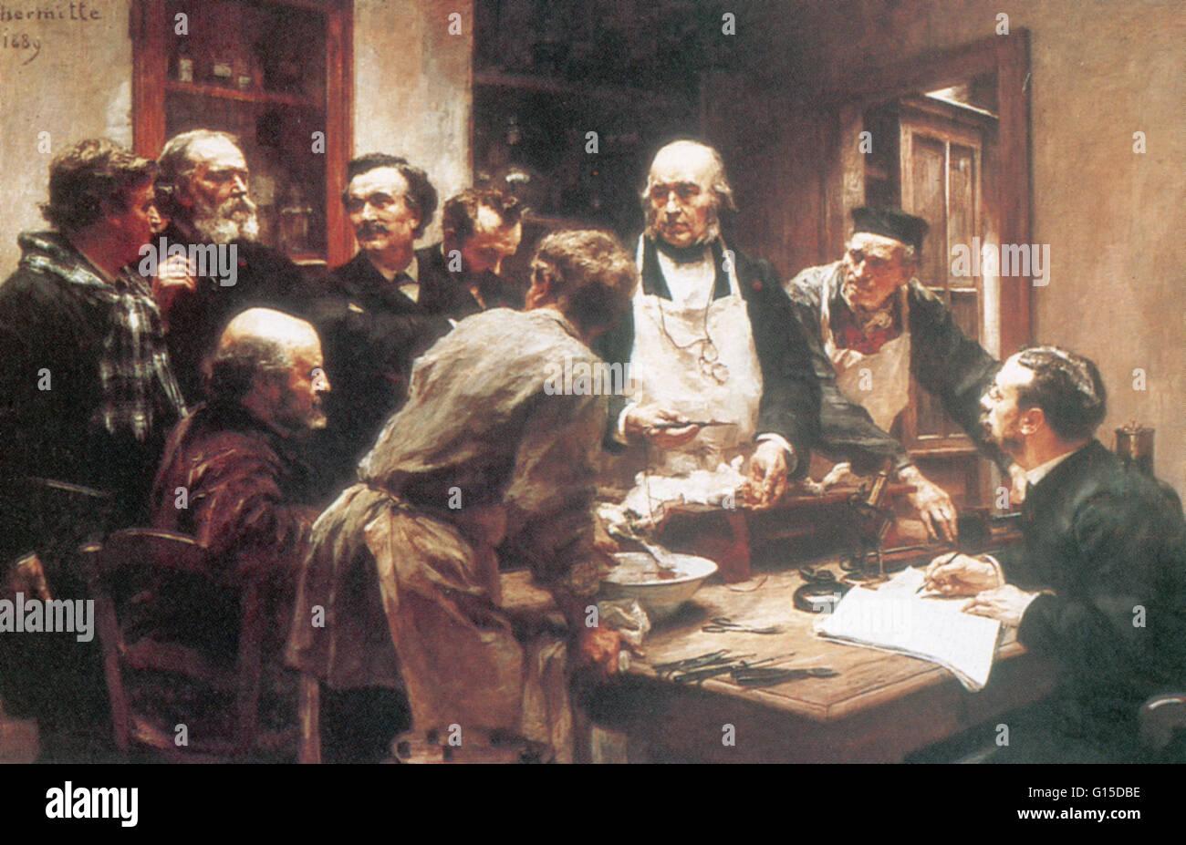 Claude Bernard zeigt ein Experiment für die Chemiker Henri Sainte-Claire Deville (sitzend auf der linken Seite), Stockbild