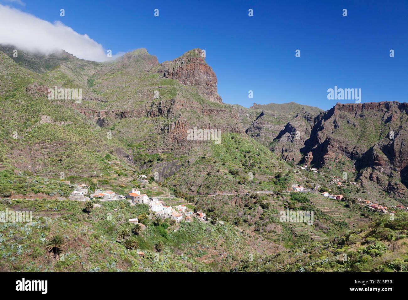 Berg Dorf Masca, Teno-Gebirge, Teneriffa, Kanarische Inseln, Spanien, Europa Stockbild