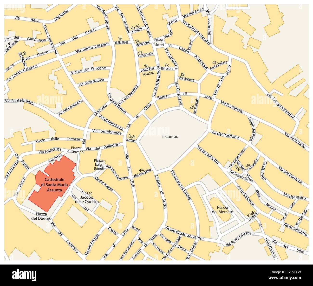 siena italien karte Karte des historischen Zentrums der toskanischen Stadt Siena  siena italien karte