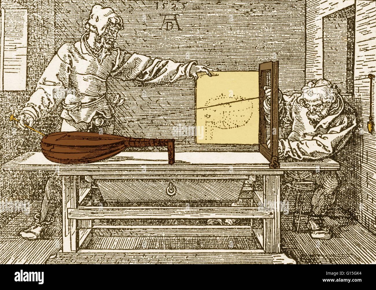 """Ein Kupferstich von Albrecht Dürer (1478-1528), """"Demonstration der perspektivisches Zeichnen einer Laute"""" Stockbild"""