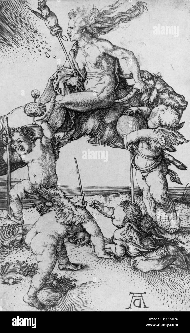 """Gravur mit dem Titel: """"Hexe"""" Reiten rückwärts auf eine Ziege, begleitet von vier Putten, von Stockbild"""