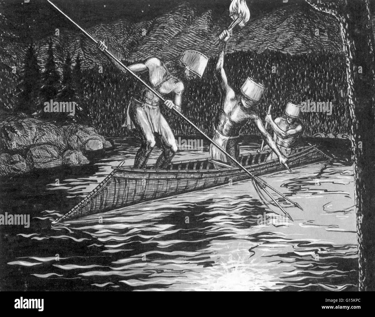 Darstellung, Shuswap (oder Secwepemc) Männer Angeln in der Nacht, mit einer Fackel des Pitch-getränkten Stockbild