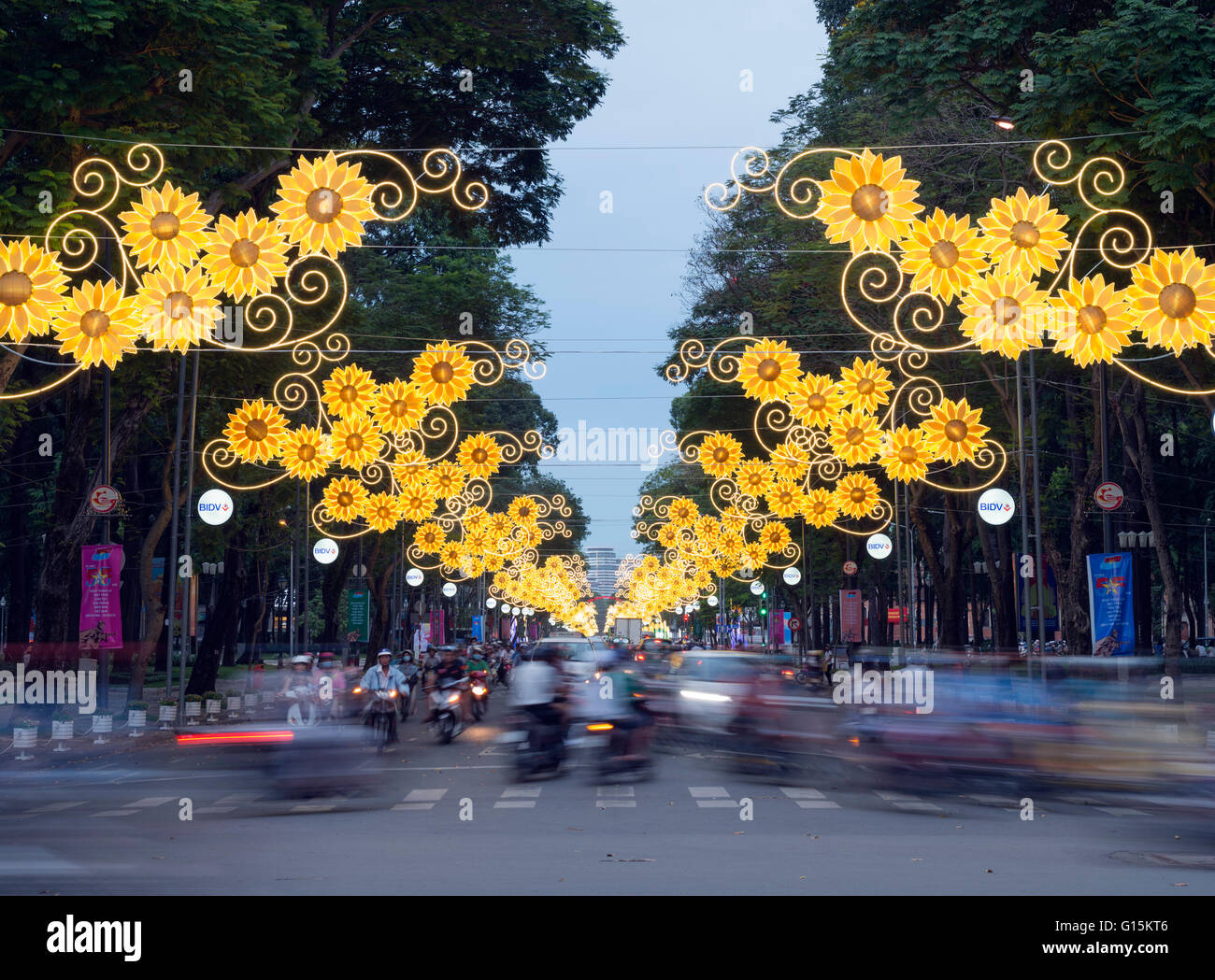 Feierabendverkehr, Ho-Chi-Minh-Stadt (Saigon), Vietnam, Indochina, Südostasien, Asien Stockbild
