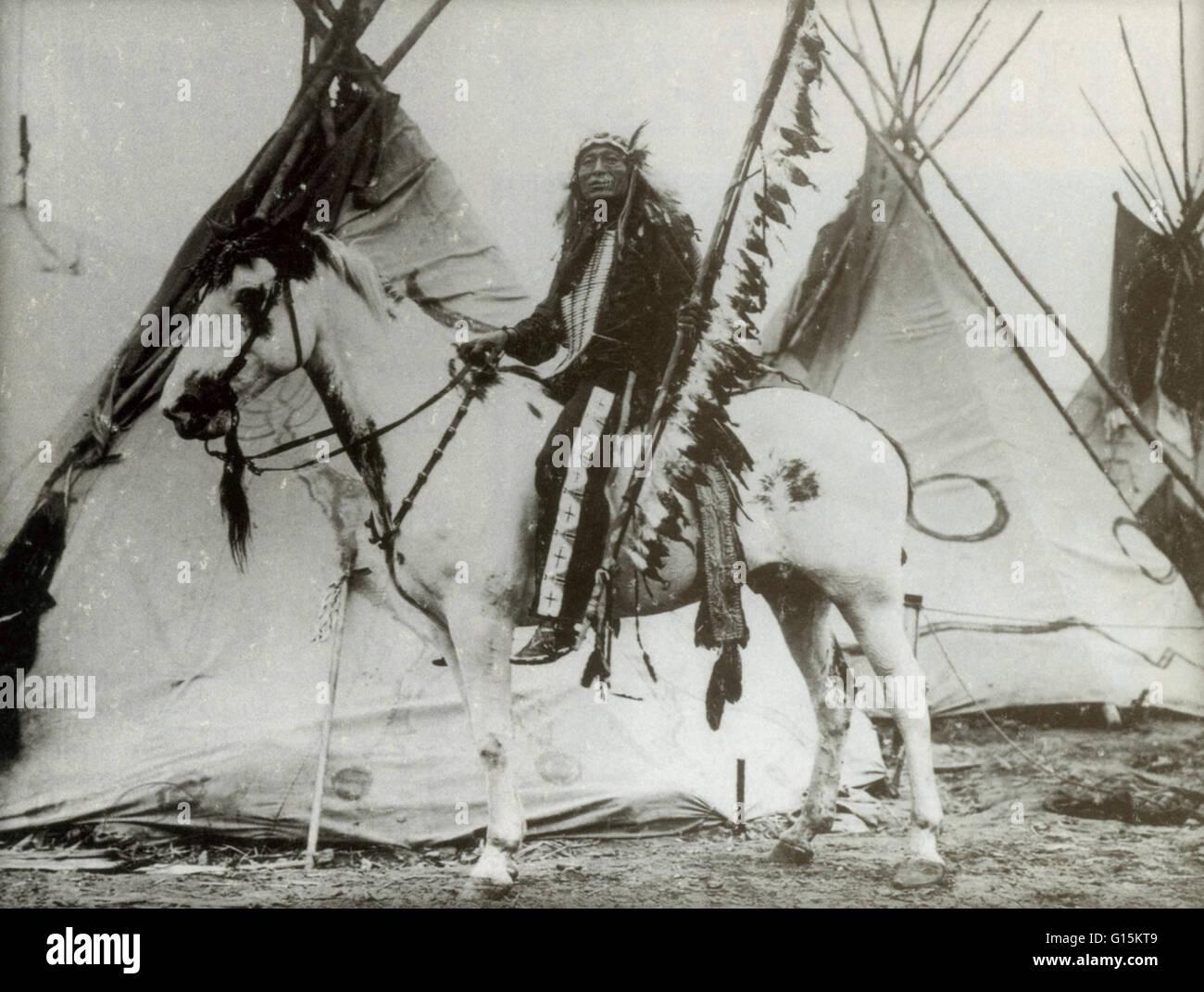 Eisenschweif war ein Sioux Häuptling kämpfte in beiden die Schlacht von Little Bighorn und am Wounded Stockbild
