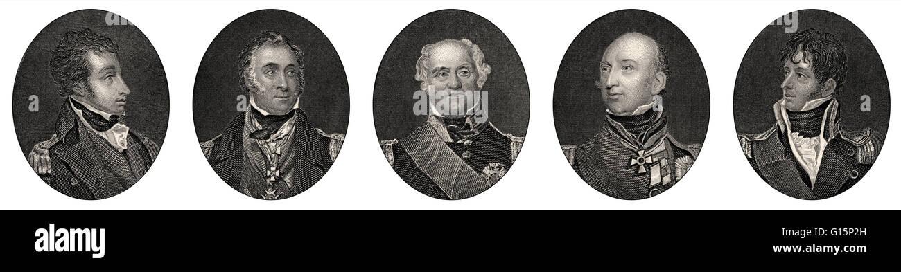 British Royal Navy Offiziere, 18. Jahrhundert Stockbild