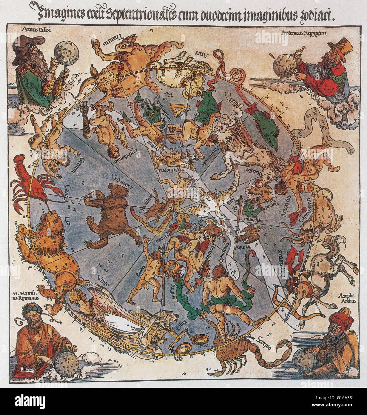 Karte des nördlichen Himmels mit Darstellungen der Sternbilder, dekoriert mit (im Uhrzeigersinn) die Astronomen Stockbild