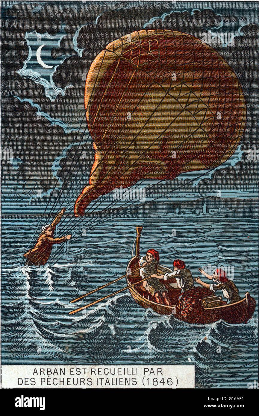 Rettung der Ballonfahrer Arban von italienischen Fischer, nachdem er seinen Ballon im Mittelmeer 1846 fallengelassen. Stockbild