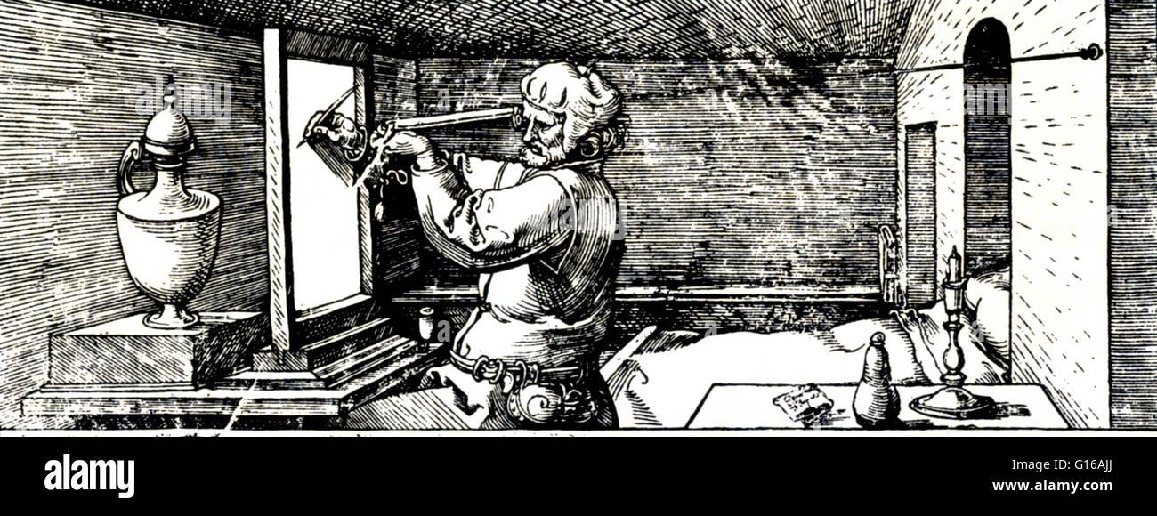 Perspektivische Projektion, Bilder für Geometrie, Albrecht Dürer, 1532. Dürers Holzschnitt von Jacob Stockbild