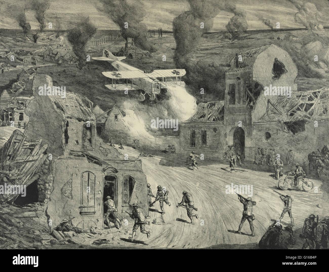 Unter dem Titel: Flugzeug Angriff Truppen aus geringer Höhe bei Vierzy bei Soissons Angriff. Skizze der deutschen Stockfoto