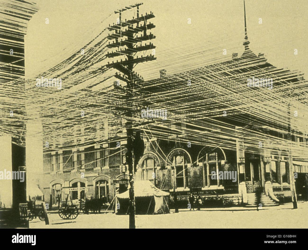 Labyrinth der Drähte in Pratt, Kansas, 1900. Eine Telefonleitung ...