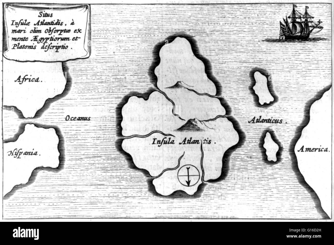 Athanasius Kirchers Karte von Atlantis, mitten im Atlantischen Ozean von Mundus Subterraneus, 1665-Ausgabe. Die Stockbild