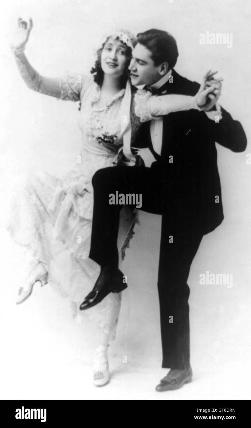 Mann im Smoking und Frau im Hochzeitskleid tanzen. Ein ...