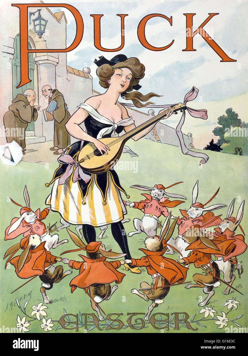 """Titel: """"Ostern Puck"""". Farblitho zeigt eine junge Frau, die eine laute als eine Gruppe von Kaninchen Kavaliere Stockbild"""