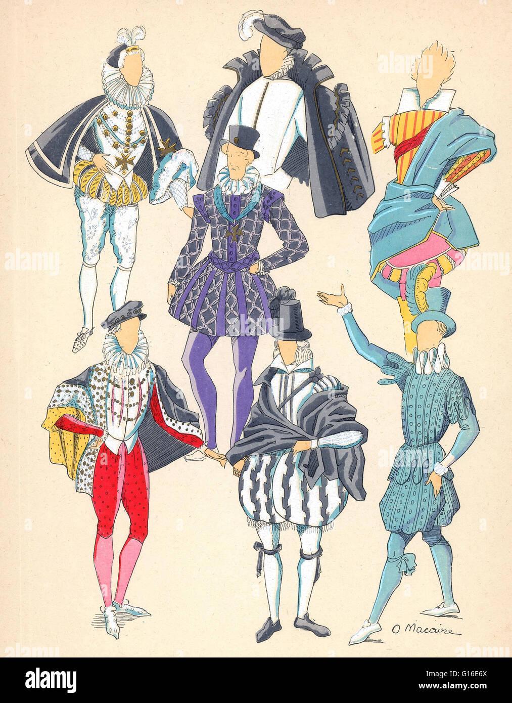 """Berechtigt: """"Männer diverse Kleidungsstücke aus der Renaissance."""" Renaissance Mode zeichnet Stockbild"""